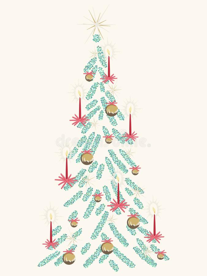 Retro kaart van de Kerstboom vector illustratie