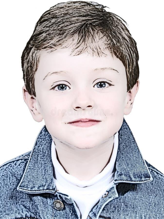 De Illustratie Van De Jongen In Het Jasje Van Het Denim Stock Fotografie