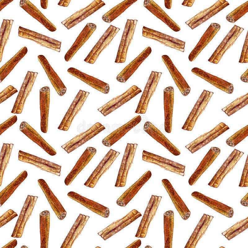 De illustratie van de kaneelwaterverf op witte achtergrond, Hand wordt geïsoleerd getrokken naadloos patroon, Ontwerpvoedsel, Org vector illustratie
