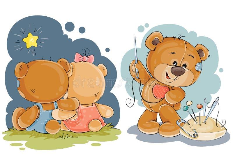 De illustratie van de klemkunst voor groetkaart met teddyberen royalty-vrije illustratie