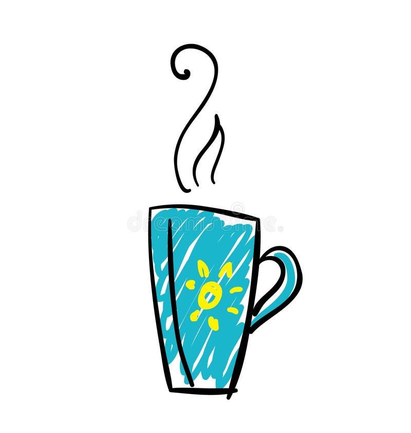 De illustratie van de krabbelkop thee vector illustratie