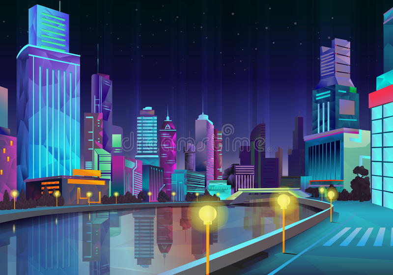 De illustratie van de nachtstad vector illustratie