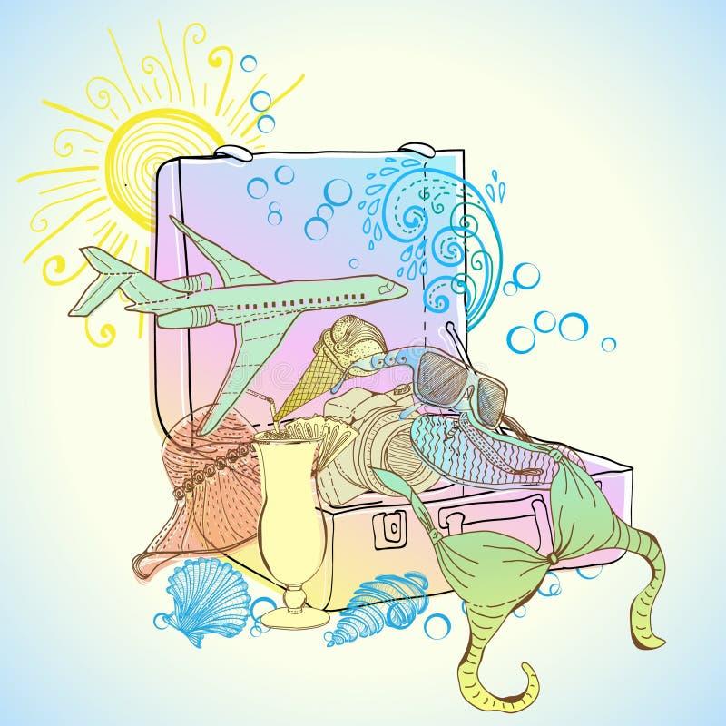 De illustratie van de reiskoffer royalty-vrije illustratie
