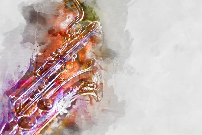 De illustratie van de saxofoonwaterverf royalty-vrije illustratie