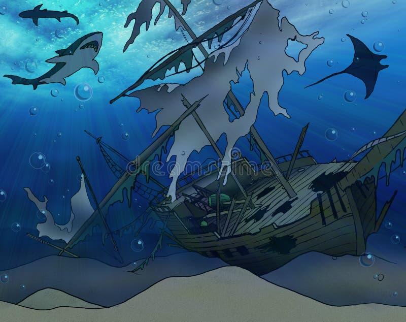 De Illustratie van de schipbreuk stock illustratie