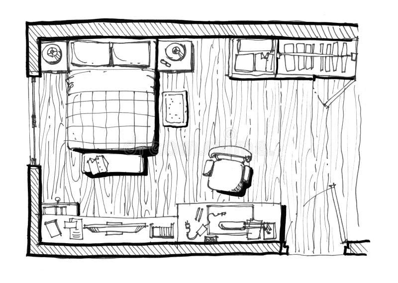 De illustratie van de slaapkamerlay-out stock illustratie