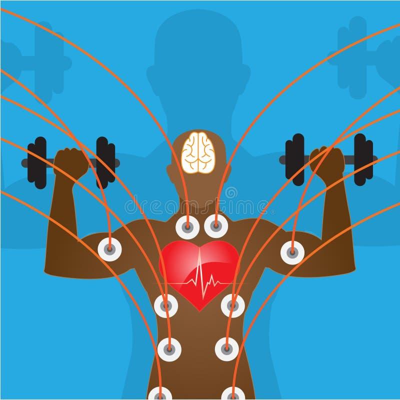 De illustratie van de sport silhouet van bodybuilder en sportpictogrammen vector illustratie