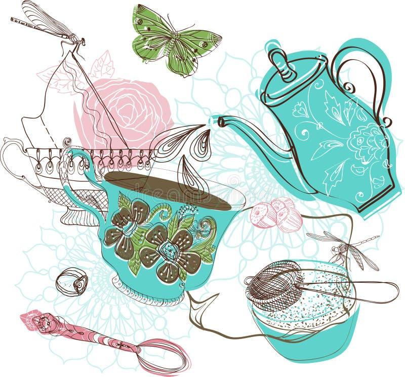 De illustratie van de theetijd met bloemen vector illustratie