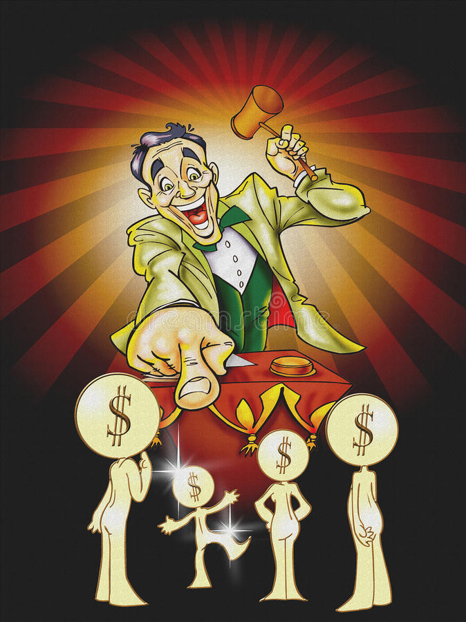 De illustratie van de veilingmeester royalty-vrije illustratie