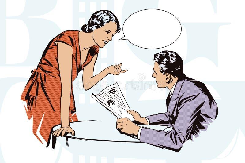 De illustratie van de voorraad Mensen in retro stijlpop-art en uitstekende reclame Cliëntkoffie die met de serveerster spreken royalty-vrije illustratie