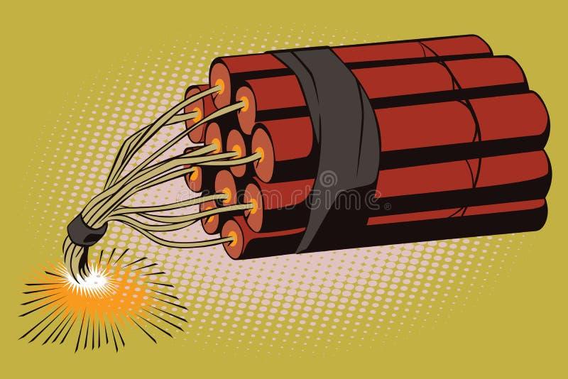 De illustratie van de voorraad Voorwerp in retro stijlpop-art en uitstekende reclame Dynamiet met het branden van zekering stock illustratie
