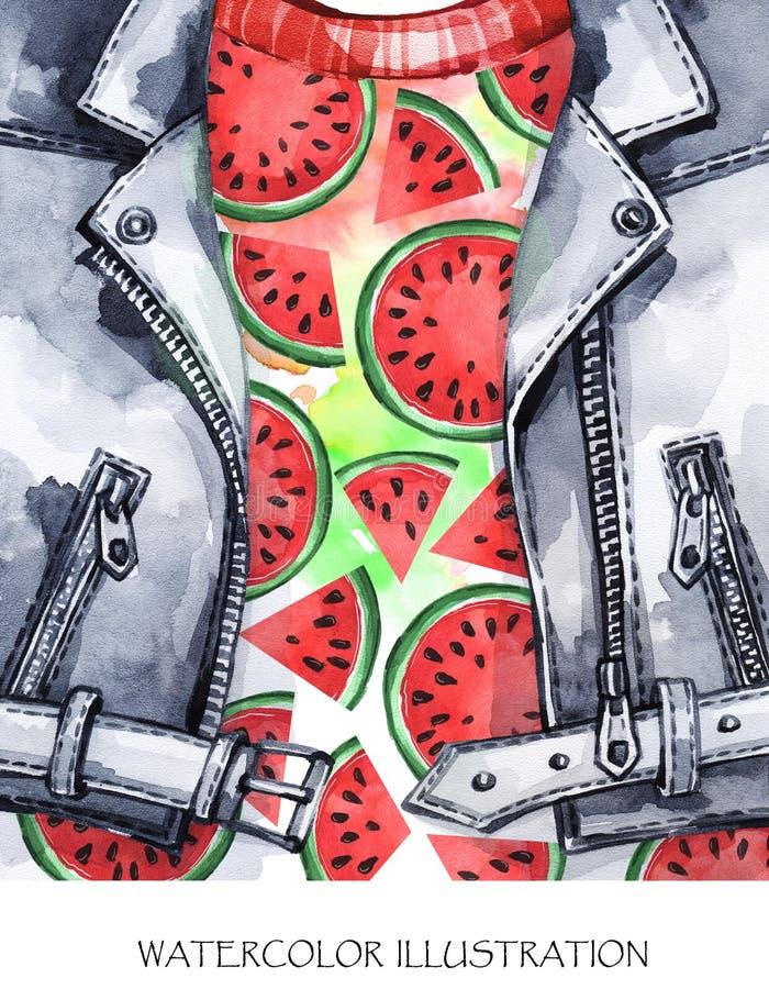 De illustratie van de waterverf Hand geschilderd leerjasje met verse watermeloen Gezonde stijl royalty-vrije illustratie