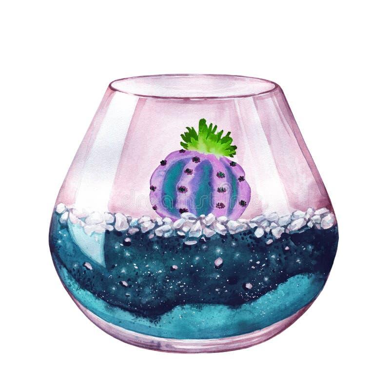 De illustratie van de waterverf Samenstelling van succulents Bloemendesig royalty-vrije illustratie