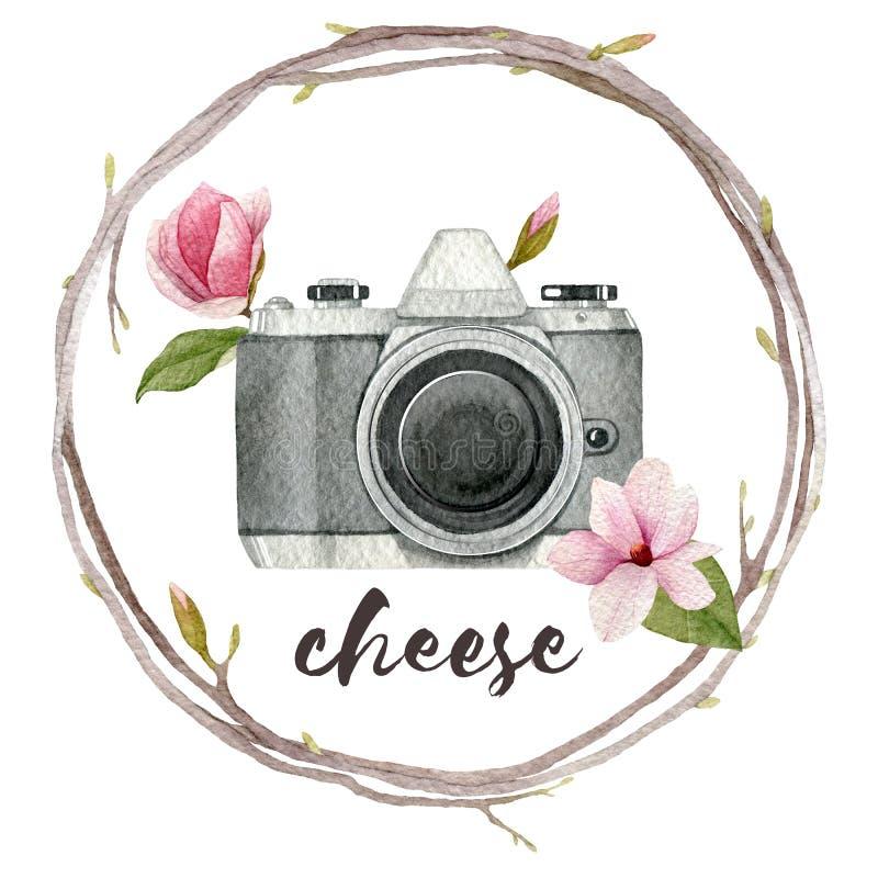 De illustratie van de waterverffotograaf met uitstekende fotocamera, kroon van takken en magnolia bloeit Hand getrokken de lentee vector illustratie