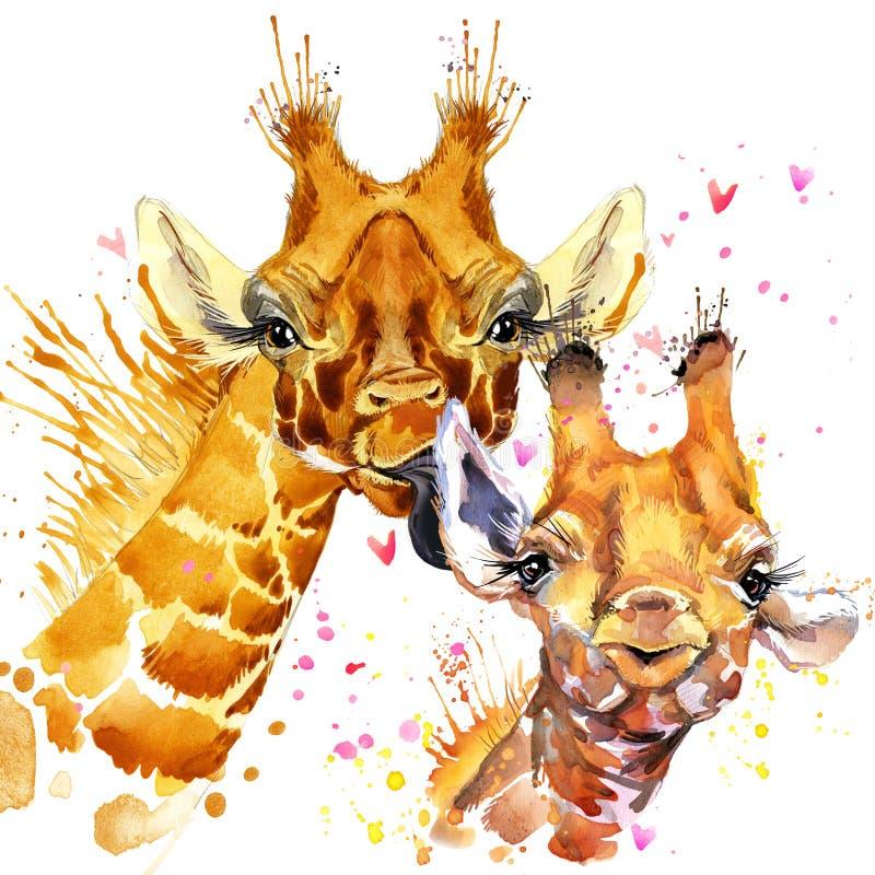De illustratie van de waterverfgiraf Leuke giraf vector illustratie