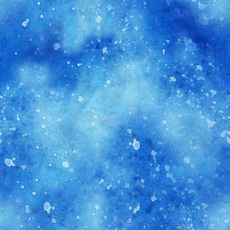 De illustratie van de waterverfhemel met sterren Ruimte naadloos patroon vector illustratie