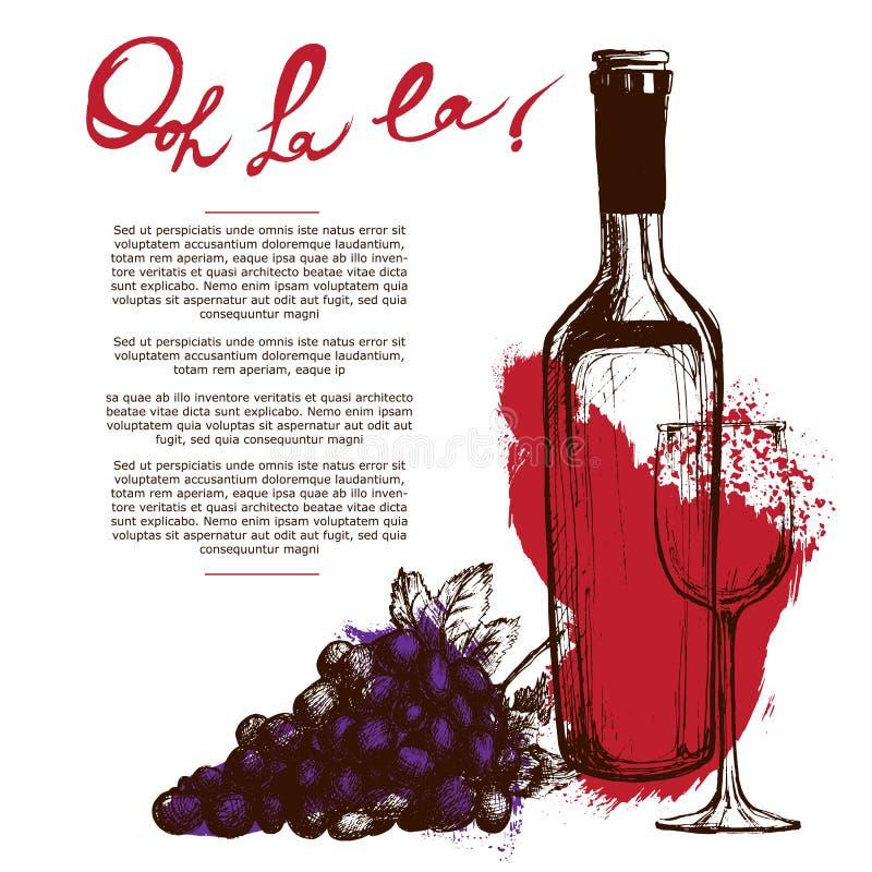De illustratie van de wijnfles stock illustratie