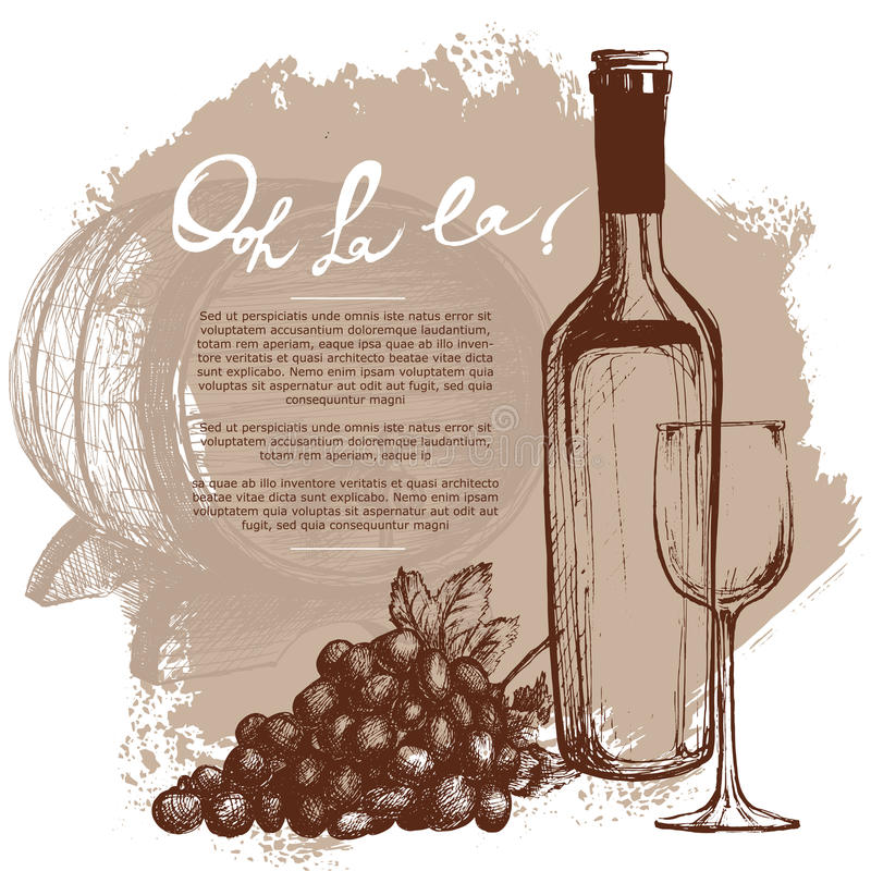 De illustratie van de wijnfles royalty-vrije illustratie