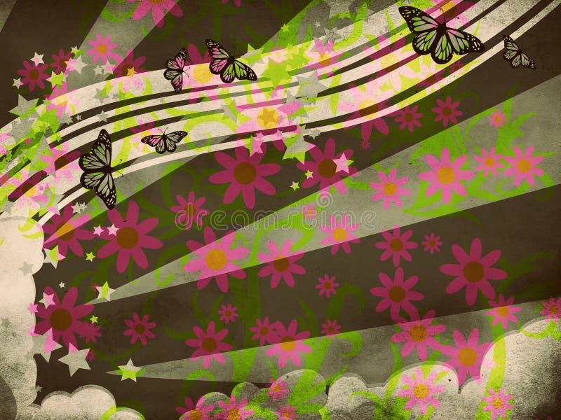 De illustratie van de zomer met vlinders royalty-vrije illustratie