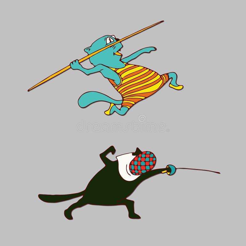 De illustratie van de zwaardvechterkat Pool Vaulter stock illustratie