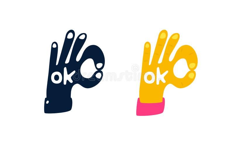 De illustratie van dient de vorm van een O.k. symbool in Vector embleem voor het bedrijf Motieventeken Gekleurde hand en zwarte royalty-vrije illustratie