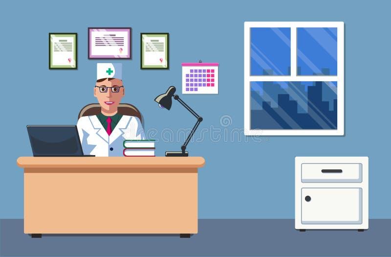 De illustratie van een arts die in zijn bureau en het werken zit Het Artsen` s Bureau Het Binnenlandse ontwerp E vector illustratie