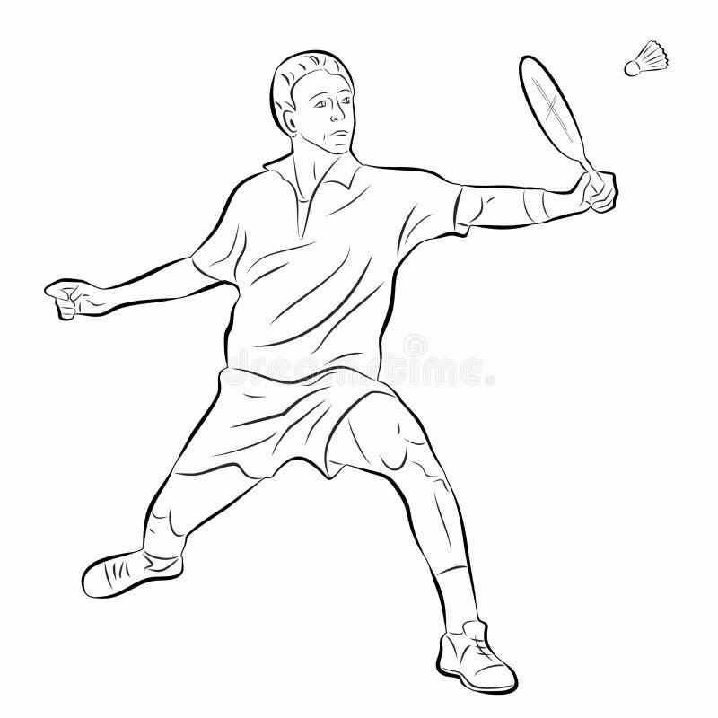 De illustratie van een badmintonspeler, vector trekt royalty-vrije stock fotografie