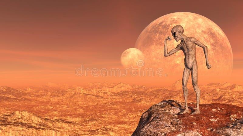 De illustratie van een grijze vreemdeling in een spier stelt boven op een bergpiek met manen op de achtergrond op een rode wereld royalty-vrije stock foto's
