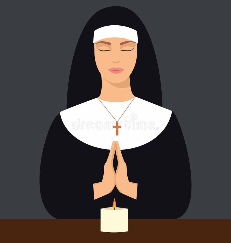 De illustratie van een jonge die non met ogen sloot en handen in gebed worden gevouwen Vectorillustratie van vrouw het bidden vector illustratie