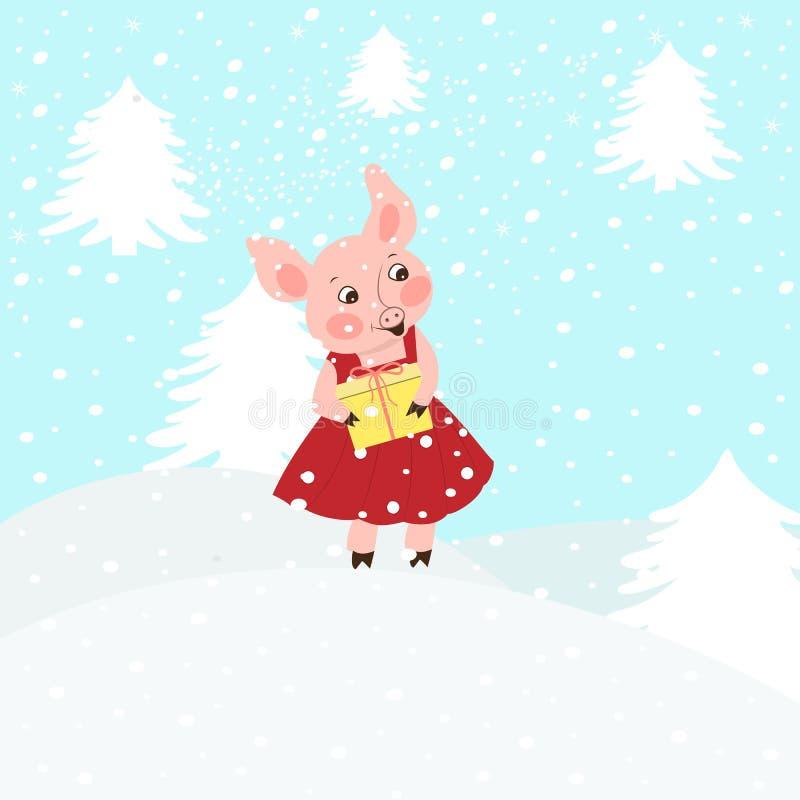 De illustratie van een leuk roze beeldverhaalbiggetje in een Santa Claus-hoed draagt voorstelt Geïsoleerde sneeuwachtergrond vector illustratie