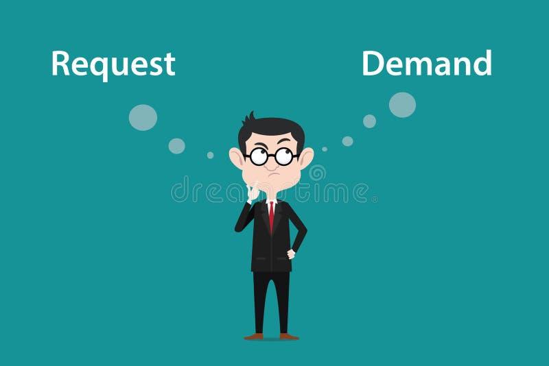 De illustratie van een mens die bril dragen verwart over het verschil tussen verzoek of de vraag royalty-vrije illustratie