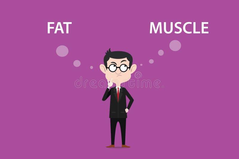 De illustratie van een mens die bril dragen verwart over het verschil tussen vet of spier royalty-vrije illustratie