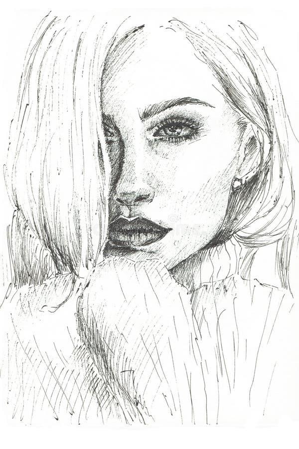 De illustratie van een portret van een meisje schilderde met een zwart deeg met een pen stock fotografie