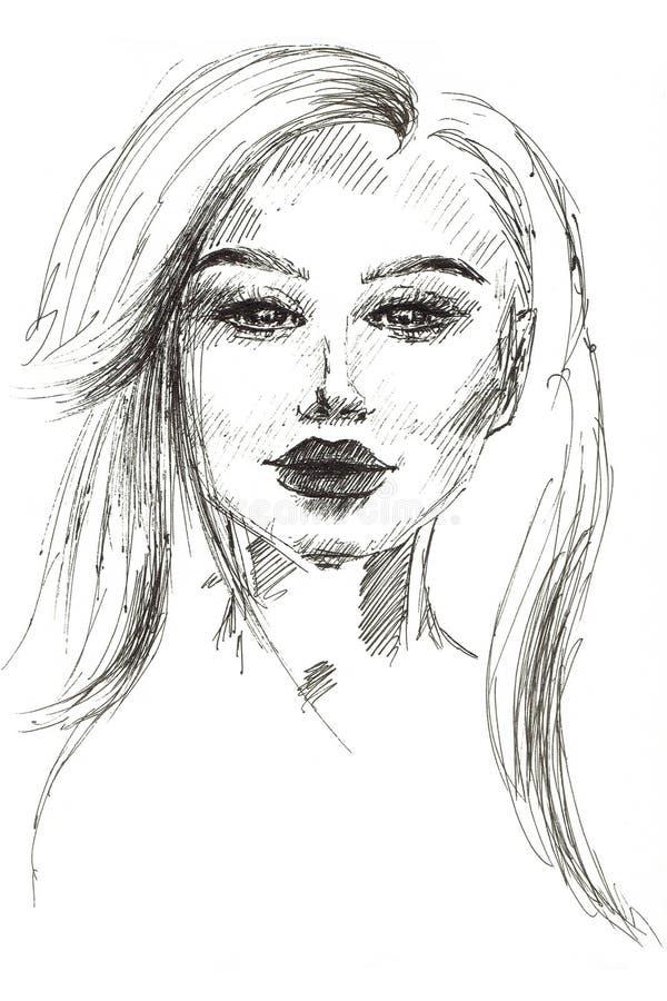 De illustratie van een portret van een meisje schilderde met een zwart deeg met een pen stock afbeelding