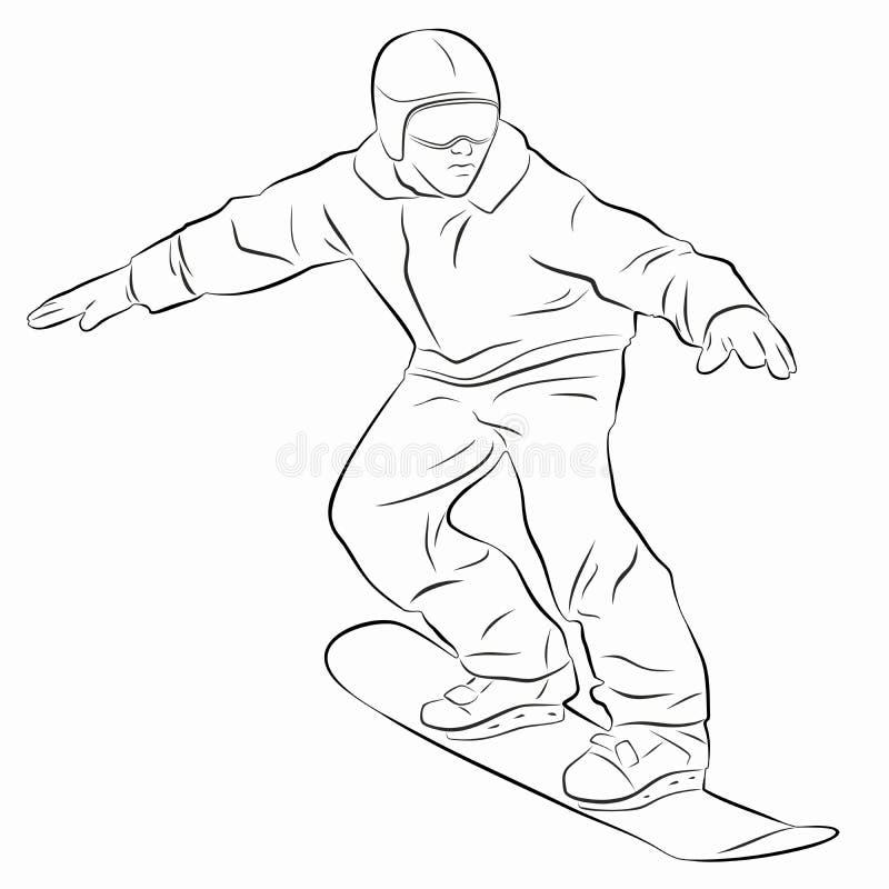 De illustratie van een snowboarder, vector trekt stock foto