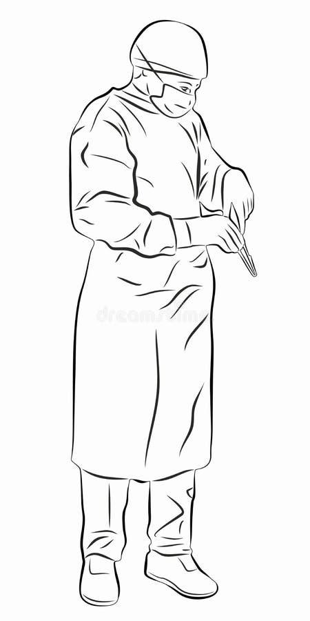 De illustratie van een werkende chirurg, vector trekt stock foto's