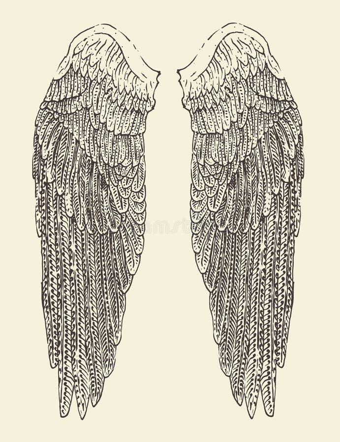 De illustratie van engelenvleugels, gegraveerde stijl, getrokken hand royalty-vrije illustratie