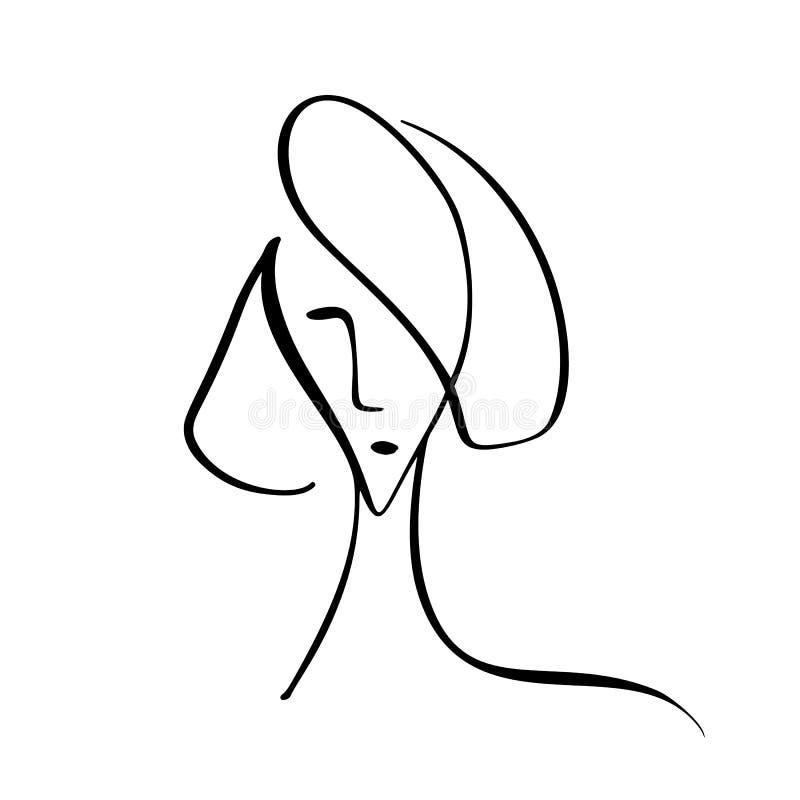De illustratie van de Fasionstijl Hand van vrouwengezicht wordt getrokken, minimalistisch concept dat Gestileerd de zorgembleem v vector illustratie
