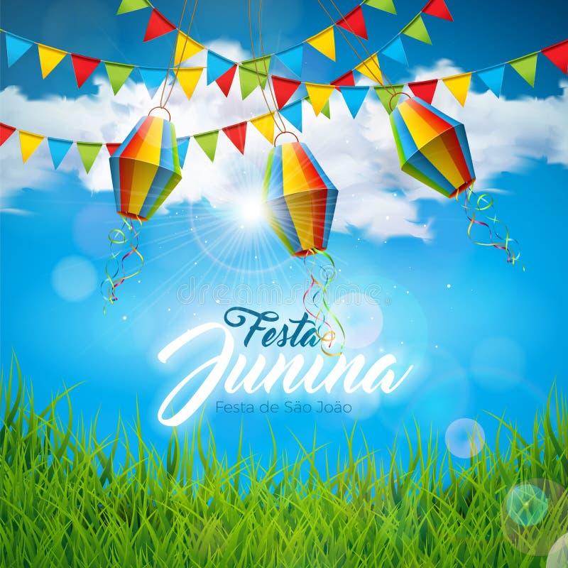 De Illustratie van Festajunina met Partijvlaggen en Document Lantaarn op Blauwe Bewolkte Hemelachtergrond Het vectorfestival van  stock illustratie