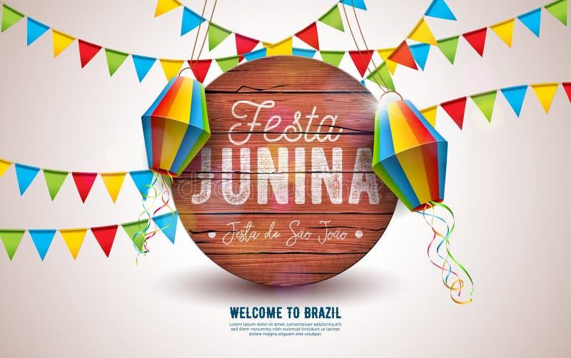De Illustratie van Festajunina met Partijvlaggen en Document Lantaarn op Gele Achtergrond Vector het Festivalontwerp van Brazili? stock illustratie