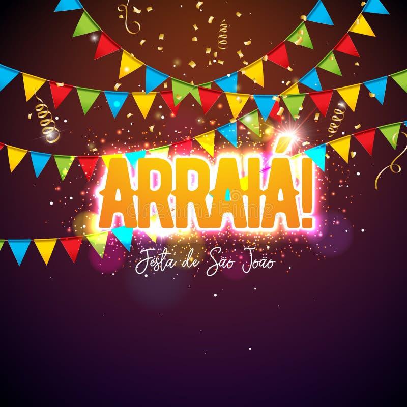 De Illustratie van Festajunina met Partijvlaggen en Typografiebrief op Confettienachtergrond Het vectorfestival van Brazili? Juni stock illustratie