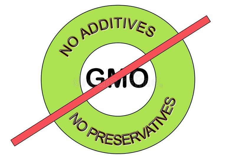 De illustratie van groen Geen GMO niet GMO Geen Bewaarmiddelen Geen Additieven stempelt verbinding stock fotografie