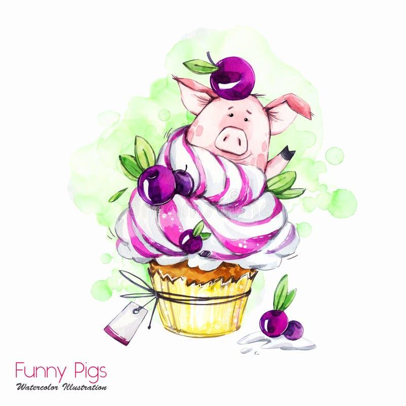 De illustratie van de groetvakantie Het varken van het waterverfbeeldverhaal in cupcake met room en bessen Grappig Dessert verjaa vector illustratie