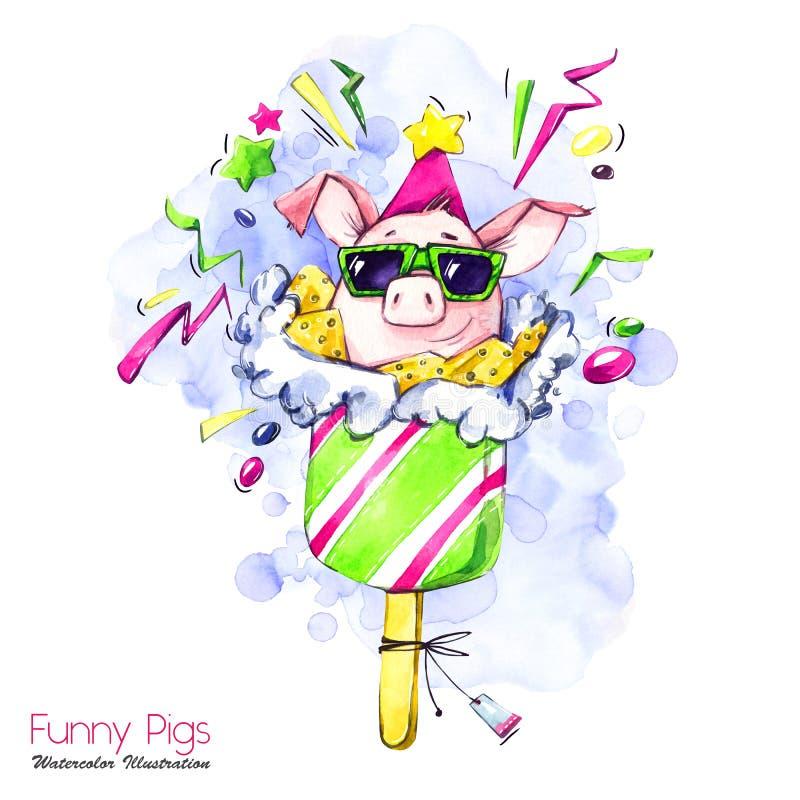 De illustratie van de groetvakantie Het varken van het waterverfbeeldverhaal in ijslolly met suikergoed en confettien Grappig Des vector illustratie