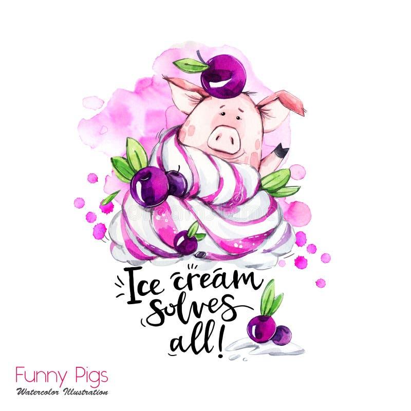 De illustratie van de groetvakantie Het varken van het waterverfbeeldverhaal met het van letters voorzien en room Grappig Dessert royalty-vrije illustratie