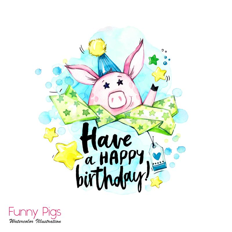 De illustratie van de groetvakantie Het varken van het waterverfbeeldverhaal met verjaardags het van letters voorzien en confetti stock illustratie