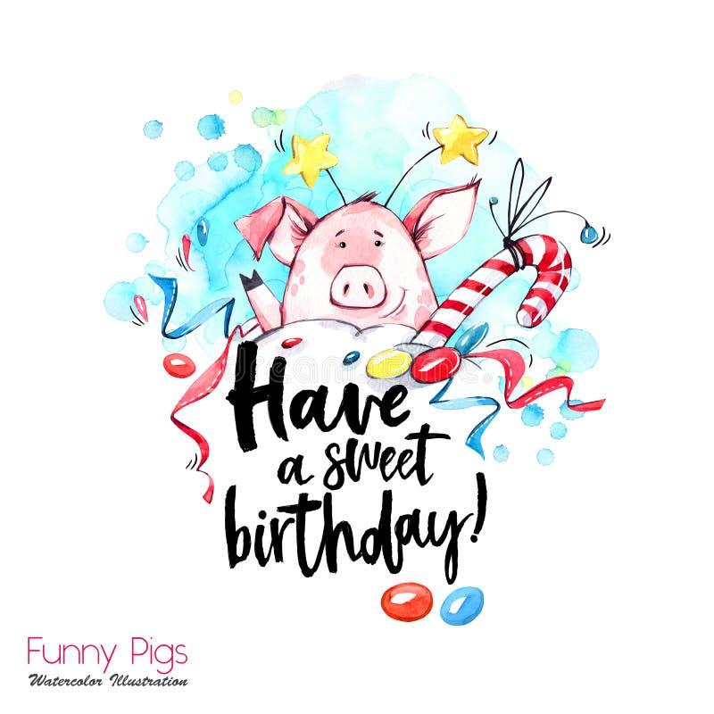 De illustratie van de groetvakantie Het varken van het waterverfbeeldverhaal met verjaardags het van letters voorzien en confetti royalty-vrije illustratie