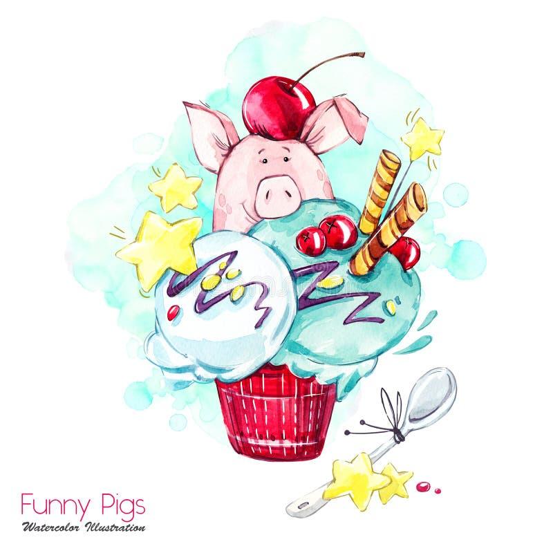 De illustratie van de groetvakantie Het varken van het waterverfbeeldverhaal in roomijs met suikergoed en bessen Grappig Dessert  stock illustratie