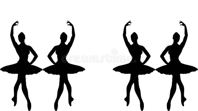 De illustratie van het ballerinasilhouet stock illustratie