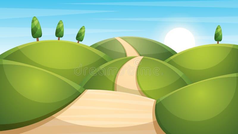 de illustratie van het beeldverhaallandschap Zon wolk, berg, heuvel stock fotografie